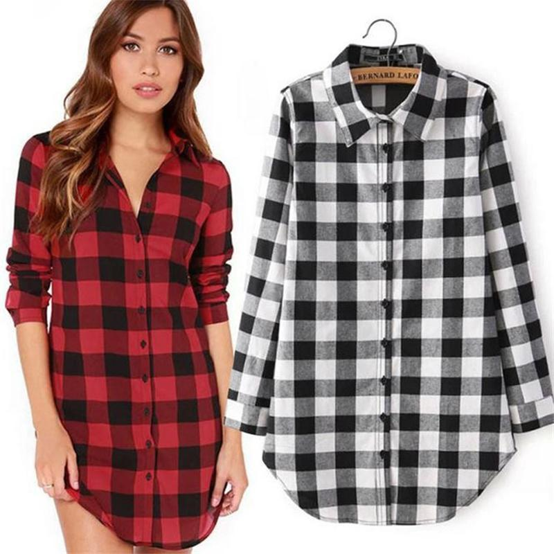 7187fcdcdfb81 Compre Camisas Largas Para Mujer Diseñador De Moda Chemise Womens Manche  Longue Plaid Design Shirt Damas Tallas Grandes Ropa Roja.