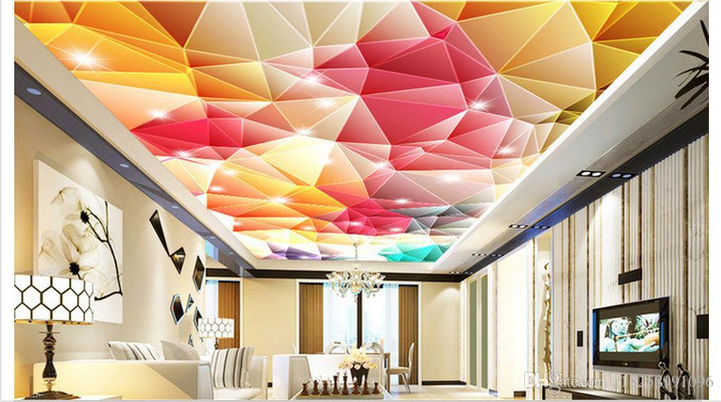 3d Wallpaper Custom Photo Ceiling Mural Wallpaper 3d Colorful Geometrical Modern Living Room Ceiling Zenith Mural Large Starry Wallpaper