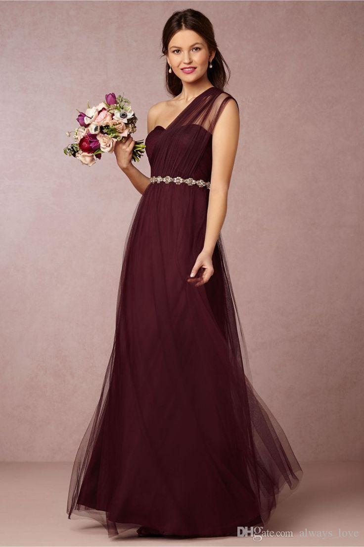 Burgundy Red Bridesmaid Dress One Shoulder Long Women Wear Formal Maid of Honor Dress For Wedding Guest Gown vestido de festa de casamento