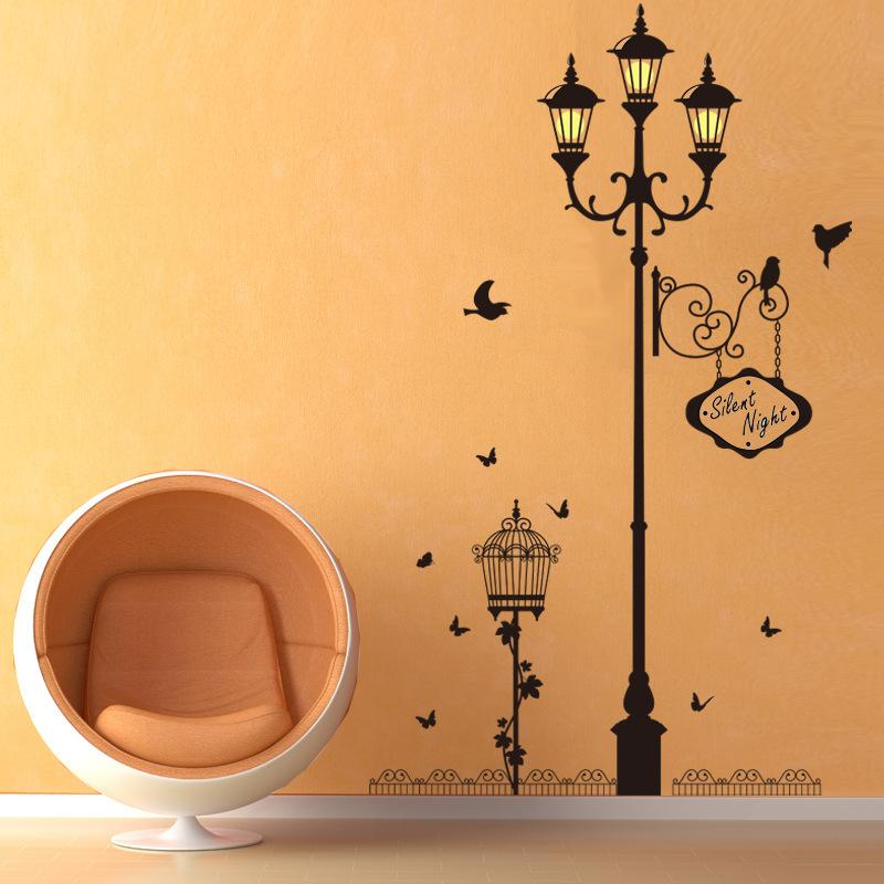 antique bird lamp wall stickers vinyl living room bedroom sofa