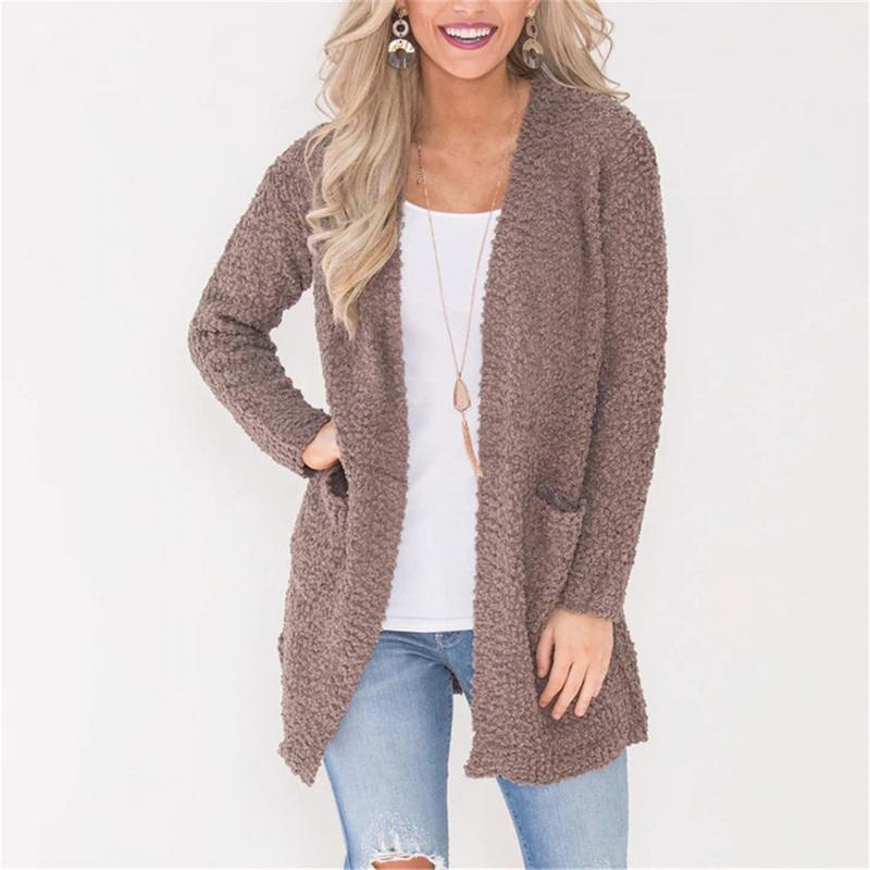 bbeb5498f5f741 2019 2018 Autumn Winter Fashion Women Long Sleeve Loose Plush Knitting Cardigan  Sweater Women Knitted Female Cardigan Pull Femme From Jujubery, ...
