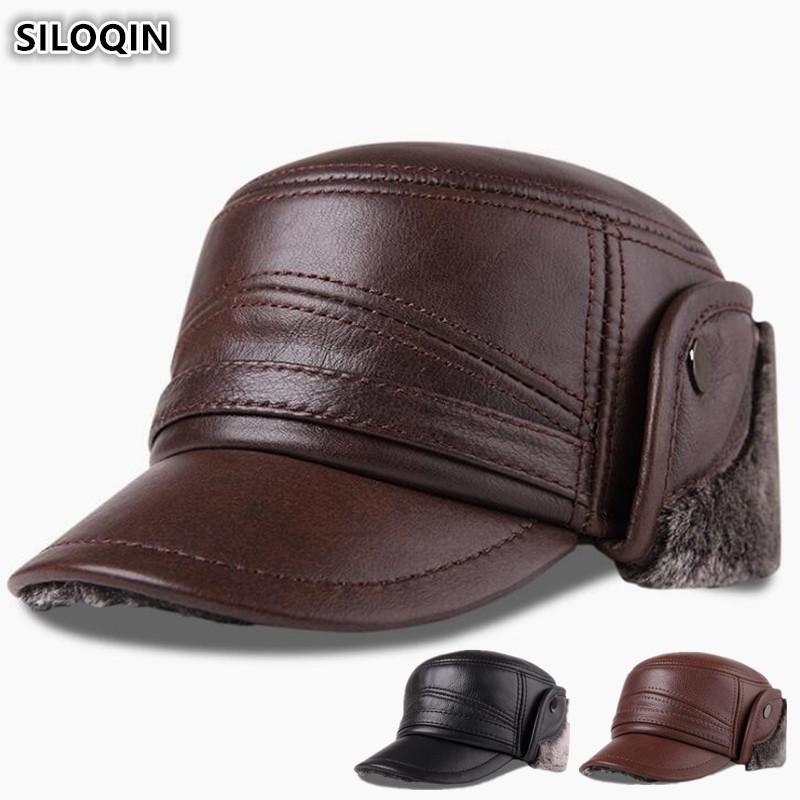 779ab1c11ca295 SILOQIN Genuine Leather Hat For Men Winter Plus Velvet Thick Warm Baseball  Cap With Earmuffs Men's Cap Cowhide Leather Warm Hats