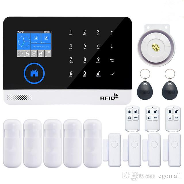 wireless wifi gsm alarm system TFT display door sensor home security alarm systems Wired Siren Kit SIM SMS Alarm