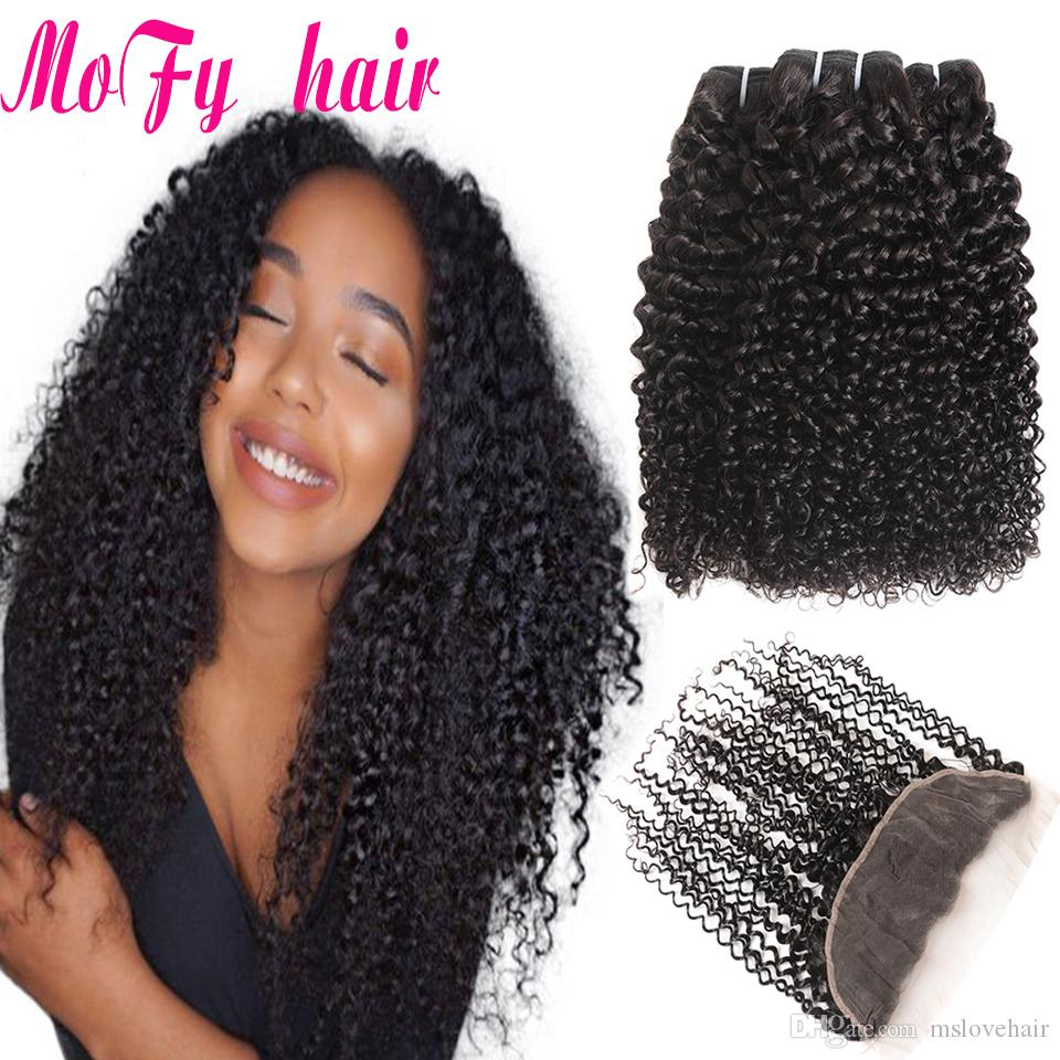 Brazilian Hair Weave 3 Bundles With Closure 4 Pcs Afro Kinky Curly Human Hair Bundles With Lace Frontal Closure Non Remy Kinky Curly