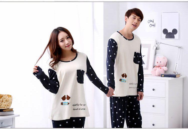 Couples Cotton Pajama Set for Women 2018 Autumn Long Sleeve Cute Cartoon Pyjama Sleepwear Men Homewear Home Clothing Lounge Gift
