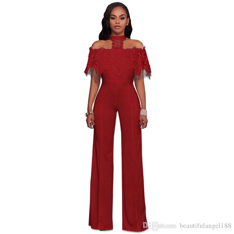 7ab6c23a2603 2019 Off The Shoulder Sexy Lace Jumpsuit Elegant Women Halter Long Wide Leg  Romper Summer Short Sleeve Hollow Backless Overall From Beautifulangel188
