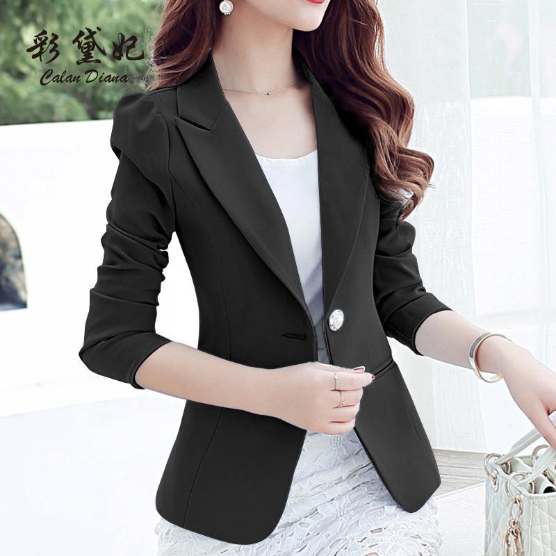 Compre Primavera Otoño Blazer Women2018 Multi Colores Slim Fit Trabajo  Blazers Negros Y Chaquetas Mujeres Open Front Blazer Trajes Para Mujer  Abrigos A ... 2f9b79a8f55d