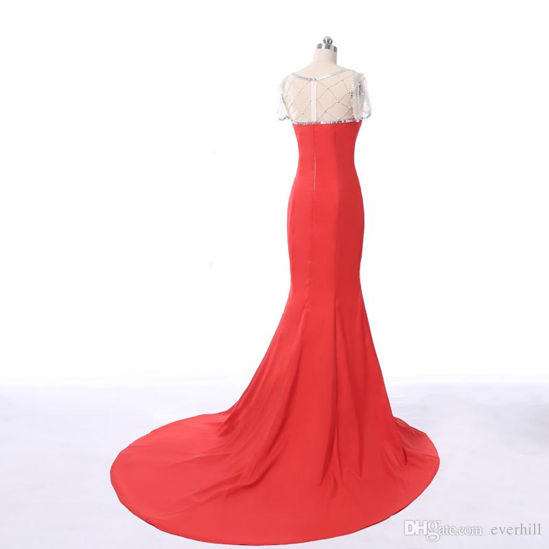 arabic Robe Longue Soiree Mermaid Evening Long Dresses For Prom Red Short Sleeve Beaded Pearls Satin Split Formal Evening Dresses Party Gown