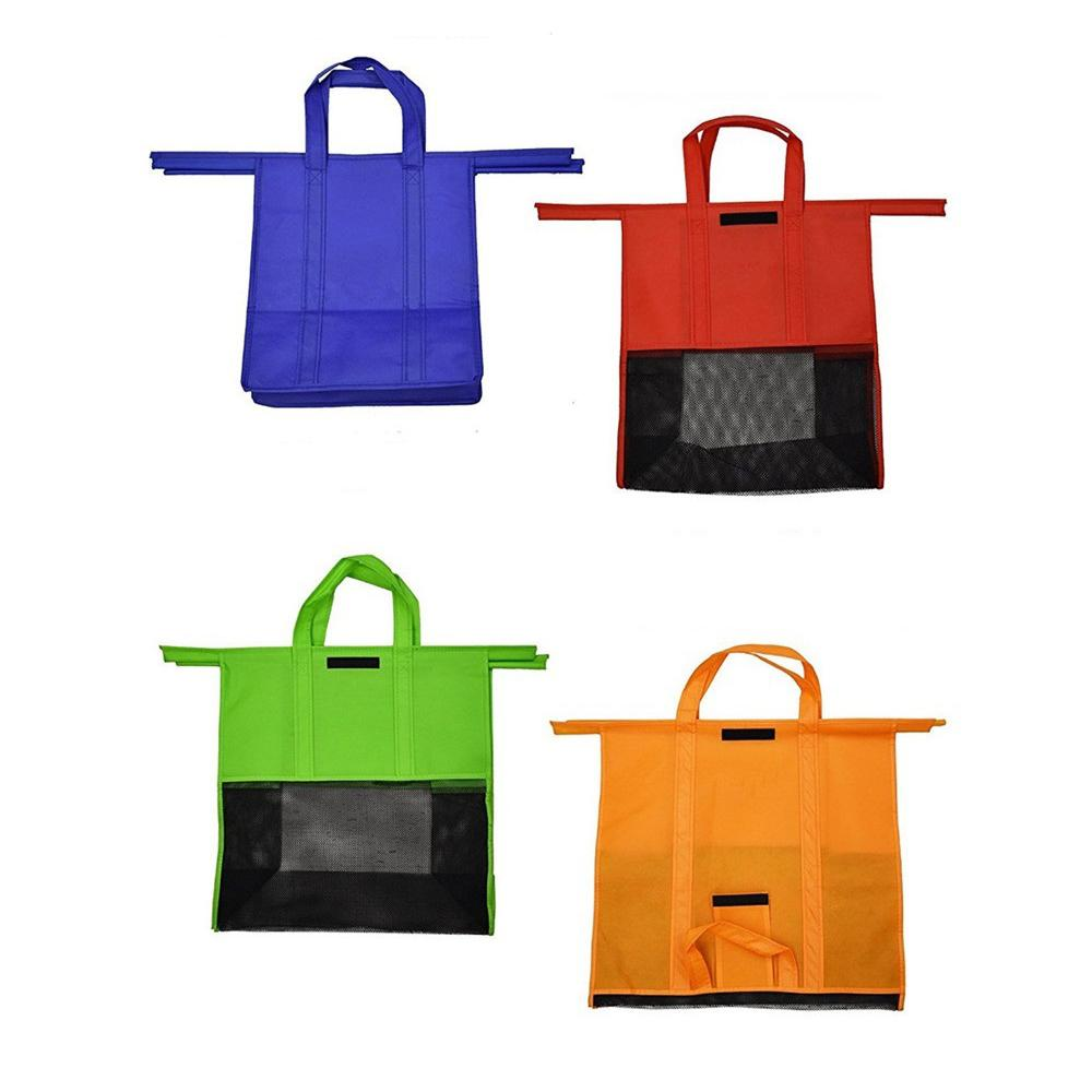 red//blue//grey//black 4pcs Recycle Shopping Bags Handle Foldable Reusable Colorful Tote Bag