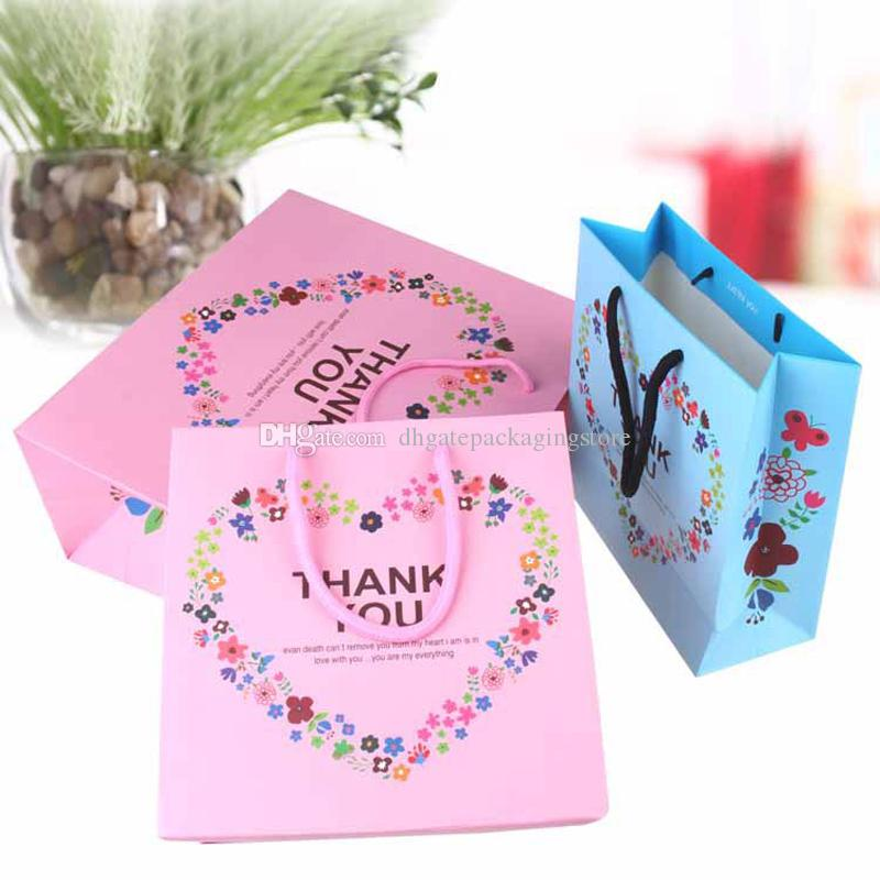 2018 Paper Shopping Bag With Handle Thank You Heart Flower Print