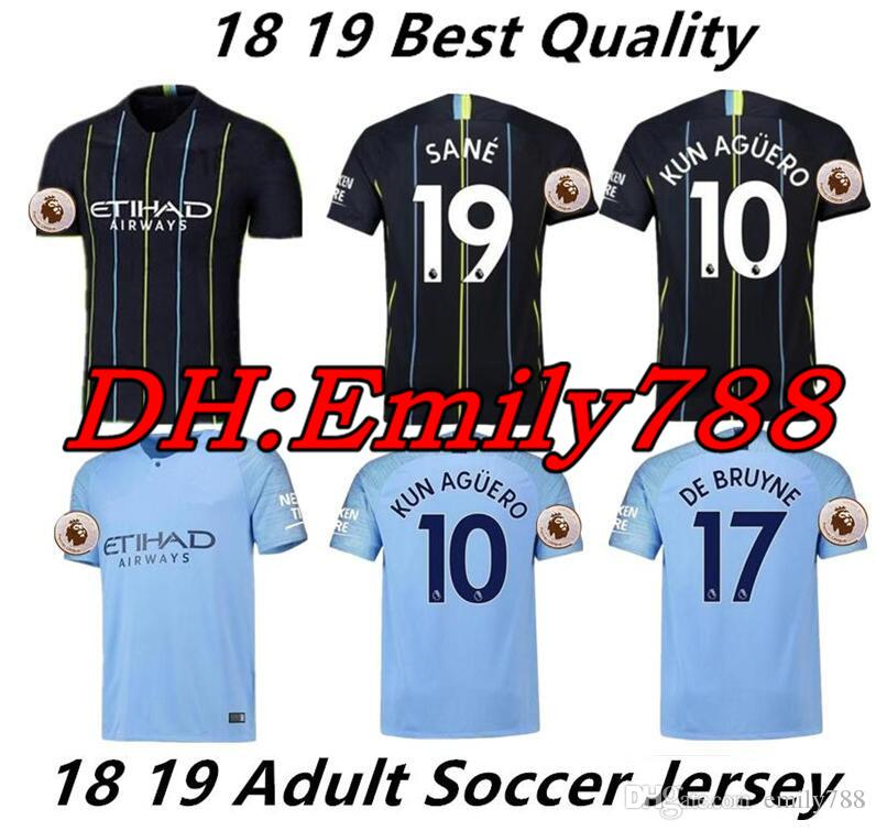 2d3c0bdd33e 2019 18 19 Sane Soccer Jerseys 2018 2019 Man City Men S DZEKO KUN AGUERO  KOMPANY TOURE YAYA DE BRUYNE Home AWAY Soccer Shirt Maillots De Foot From  Emily788