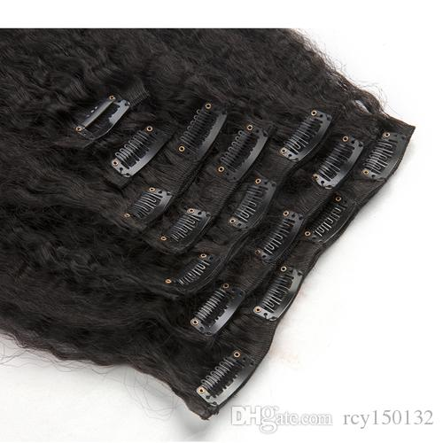 Clip In Human Hair Extension And 120gNatural Color Coarse Yaki Kinky straight clip in hair extensions