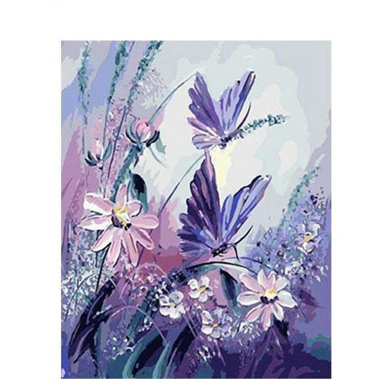 Acheter Sans Cadre Pourpre Papillon Bricolage Peinture Par Numéros