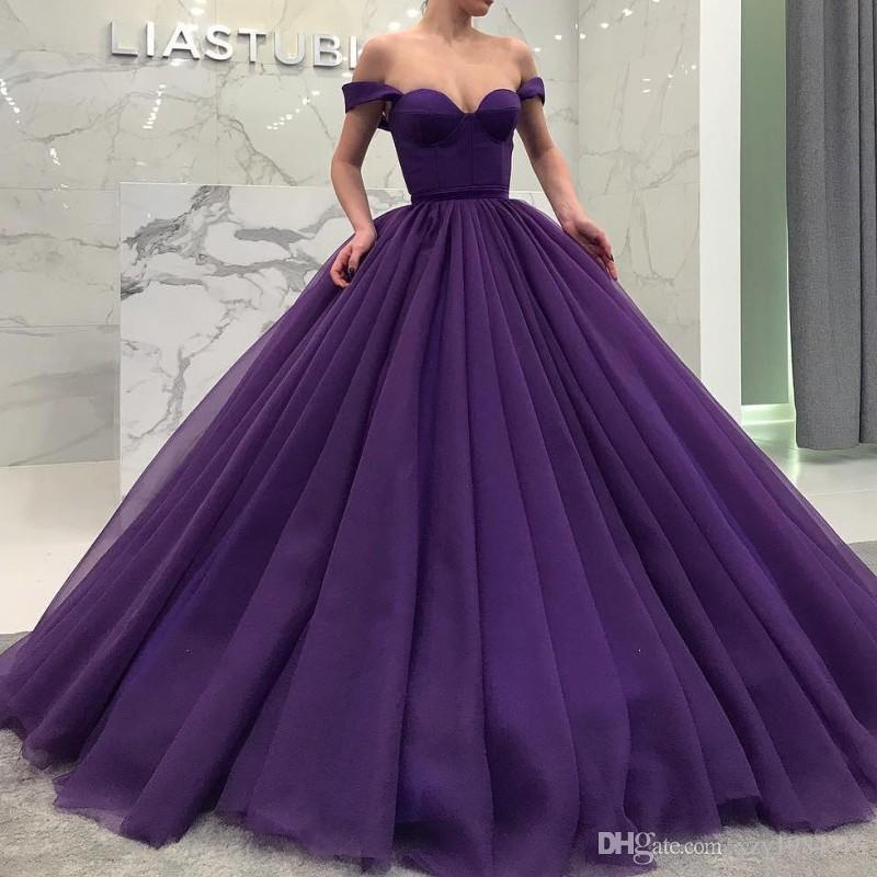 0504342a16d Fascinating Fluffy Long Quinceanera Dresses Sexy Off Shoulder Sweetheart  Ball Gown Tulle Prom Dress Dubai Celebrity Party Dress Evening Gown Formal  Gowns ...