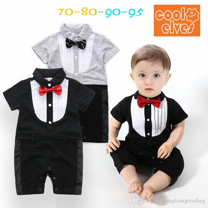 fdcb3895953d 2019 Bow Tie Baby Rompers Cotton Boys Romper Gentleman Party Clothing  Summer Overalls 2018 Hot Newborn Infant Jumpsuits Boy Clothes From  Dongliangtrading