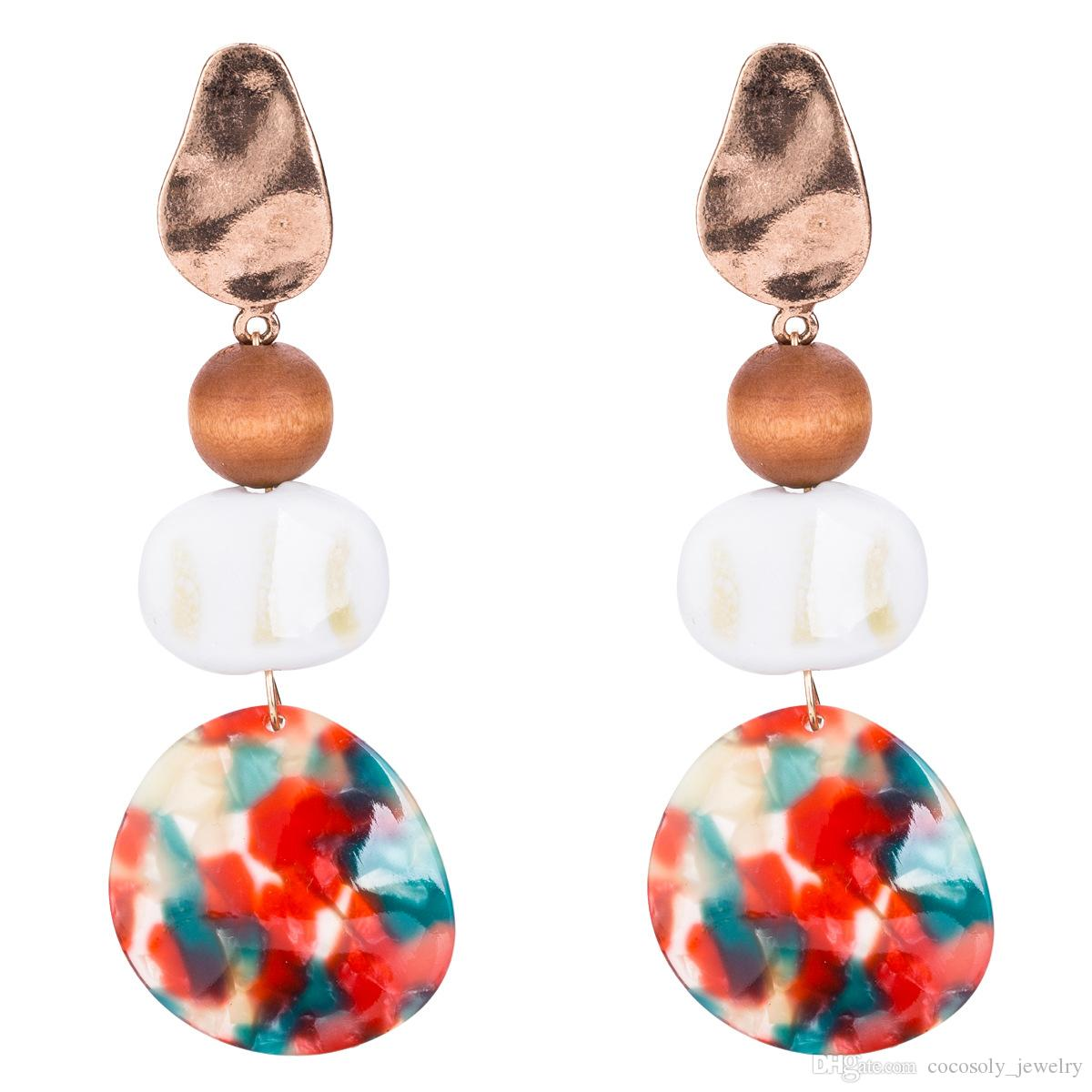Fashion Jewelry New Ethnic Multi-layered stone Long Tassel Earrings Bohemian Acetate plate Drop Dangle Earrings For Women Accessories