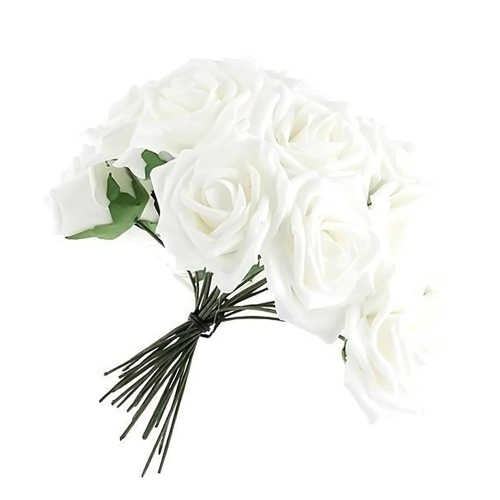 Online Cheap Artificial White Foam Rose Flower Bouquets Home