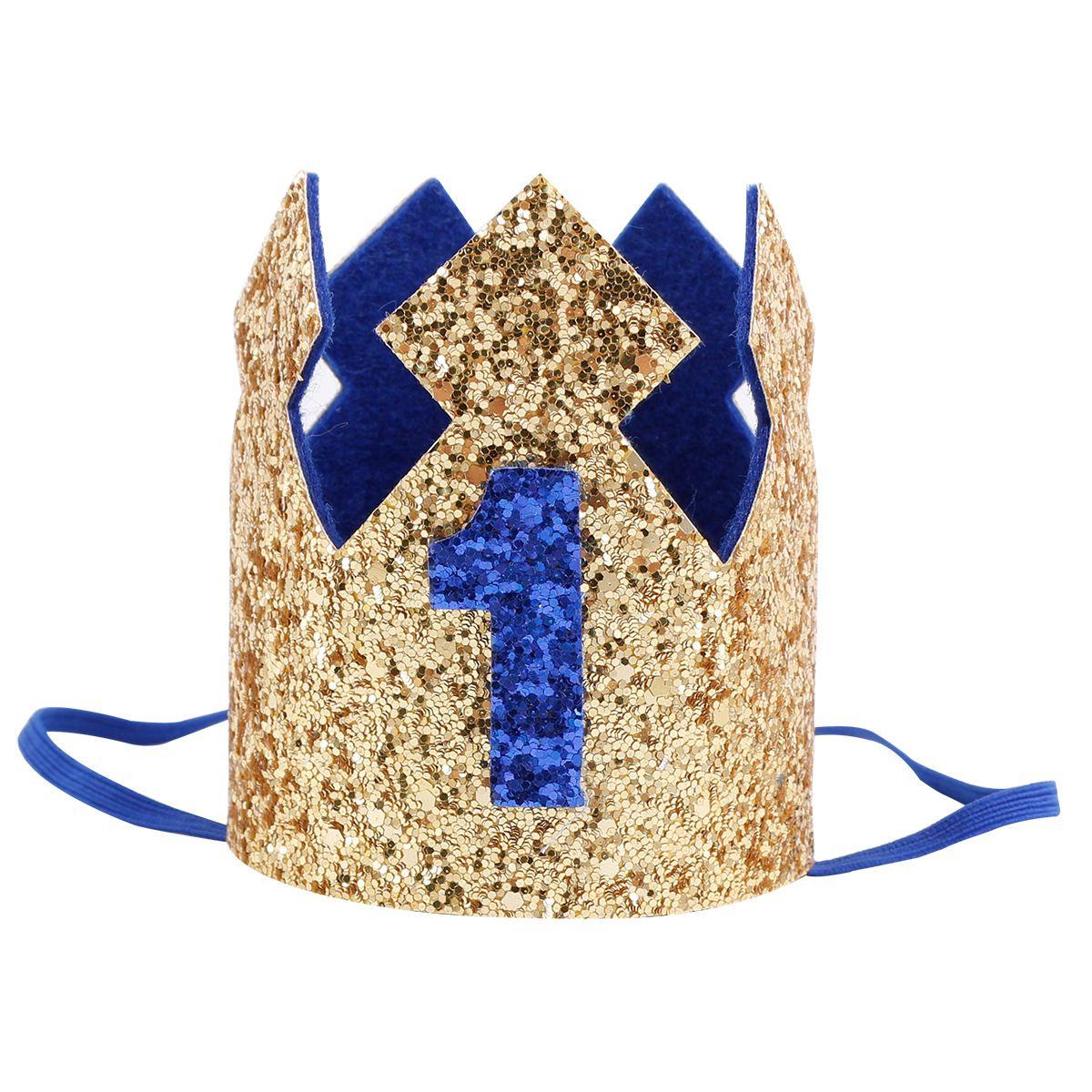 Glitter Baby bambini festa di compleanno fasce boutique paillettes corona cappello principi principessa fasce capelli bambini puntelli fotografia YA0306