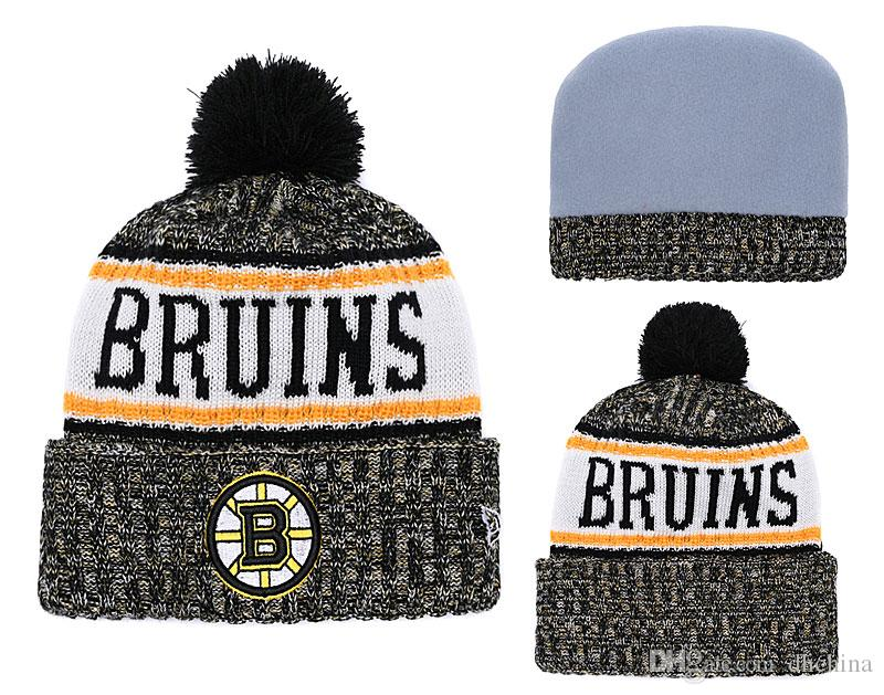 New Beanies Bruins Hockey 2018 Hot Knit Beanie Pom Pom Knit Hats ... 046eac1f516