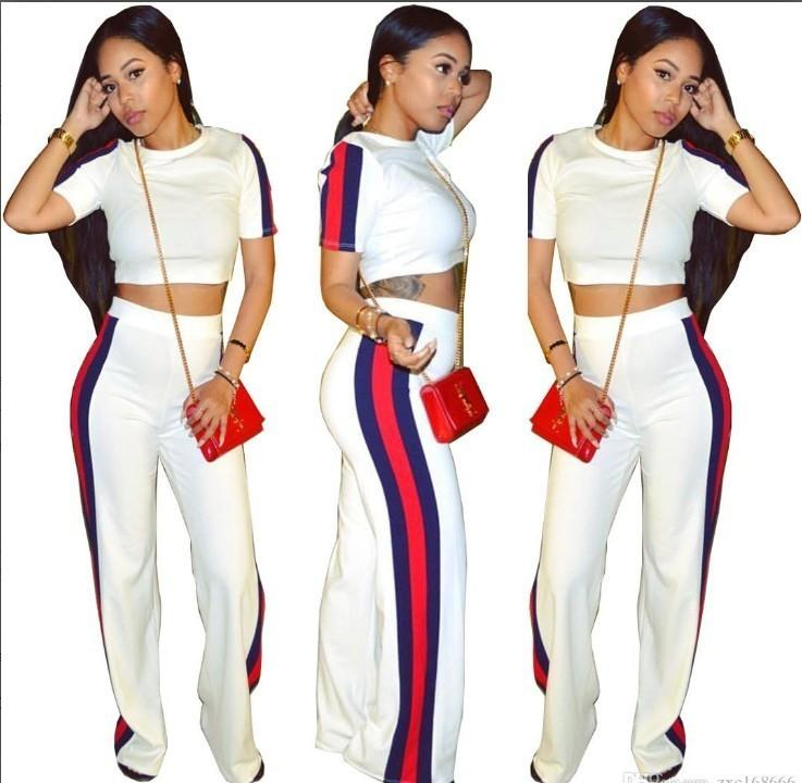 3d3daf09c7 Womens Ladies Tracksuits Sexy Short Pullover Tops Wide-legged Pants Set  Piece Casual Two-Piece Women Sport Suits Sportswear Print Sports