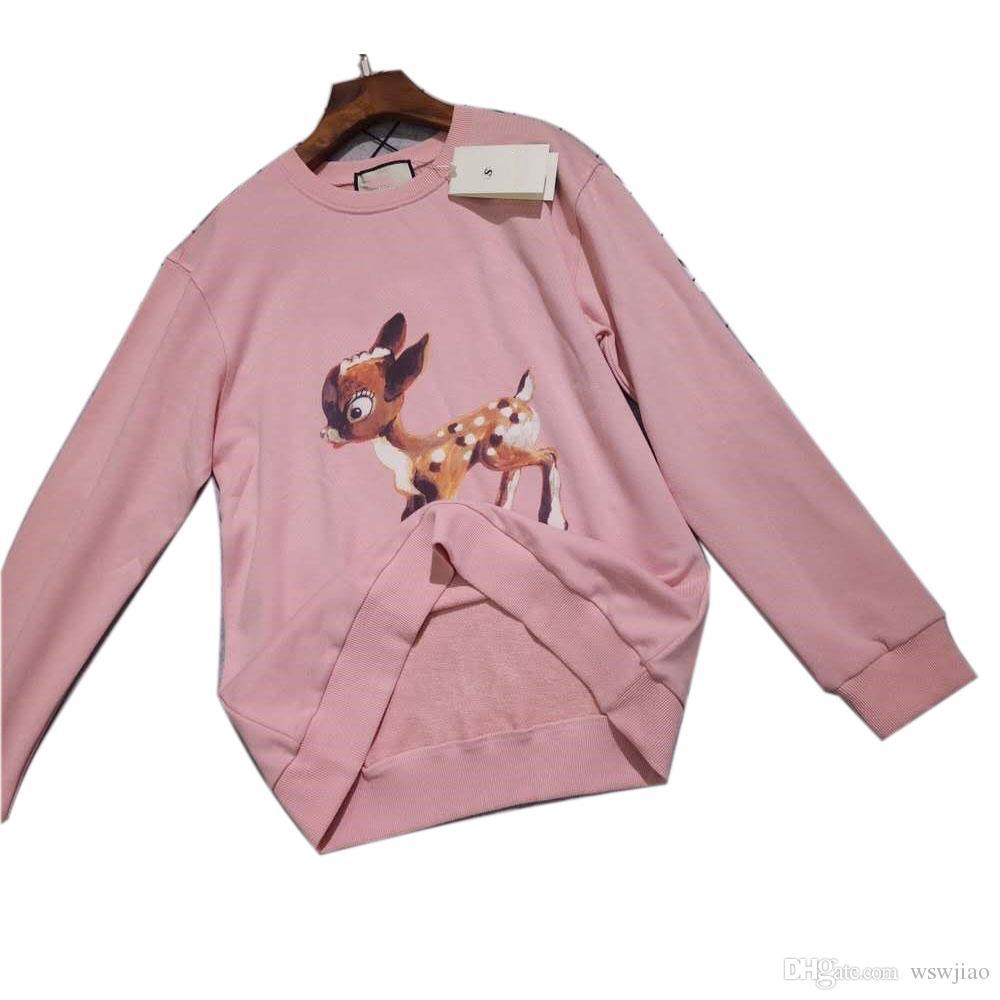 Hot Luxury brand tops Women pink Sika deer 9ucci logo causal sweater  fashion tracksuits jumper jacket Women s Hoodies & Sweatshirts