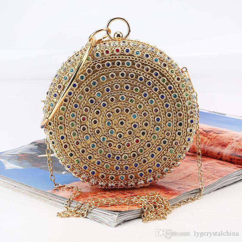 Round dinner bag Set auger New colored gemstone hand bag Rhinestone banquet bag with a bracelet high quality workmanship best price