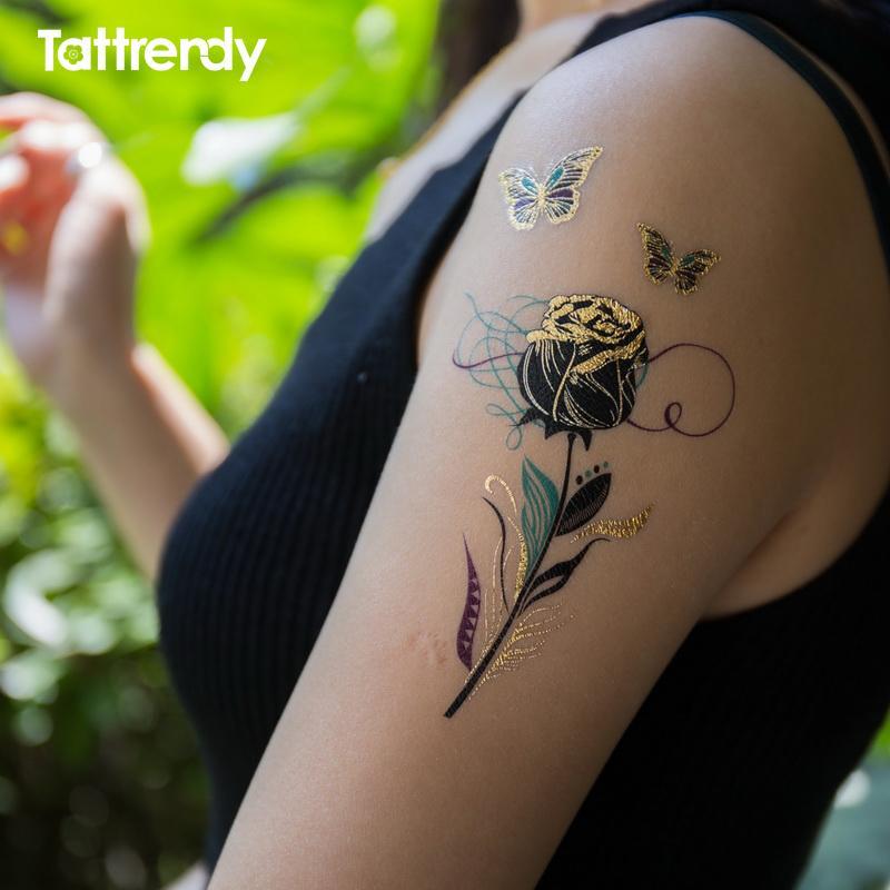 Temporary Tattoos Gold Flash Metallic Arm Shoulder Sticker Black ...