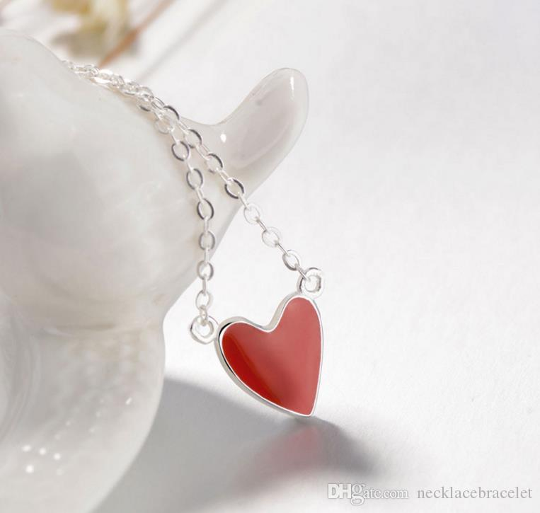 wholesale retail Hot drop jelly heart gold necklace S925 pure silver red heart chain pendant ring