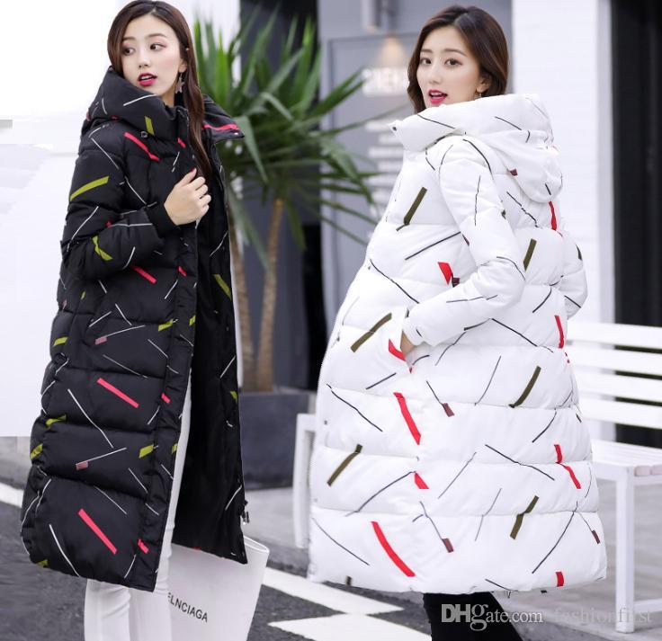 2019 2018 Fashion New Design Winter Women Print Jacket Long Down