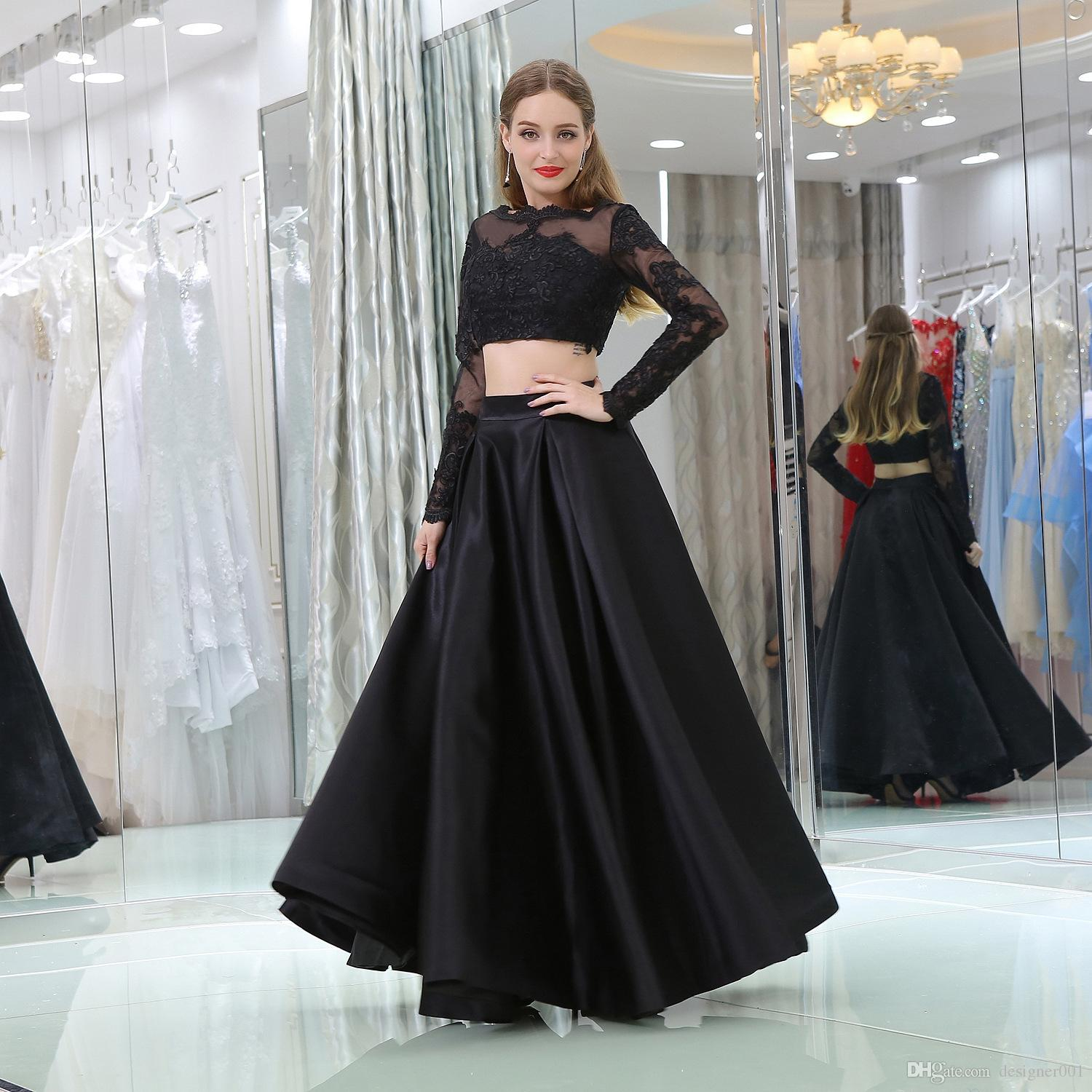 ea7a0bf943 2019 New Sheer Neck Two Pieces Prom Dresses With Long Sleeves Elegant Satin  Floor Length Evening Gowns Formal Party Dress Custom Made Short Prom Dresses  ...