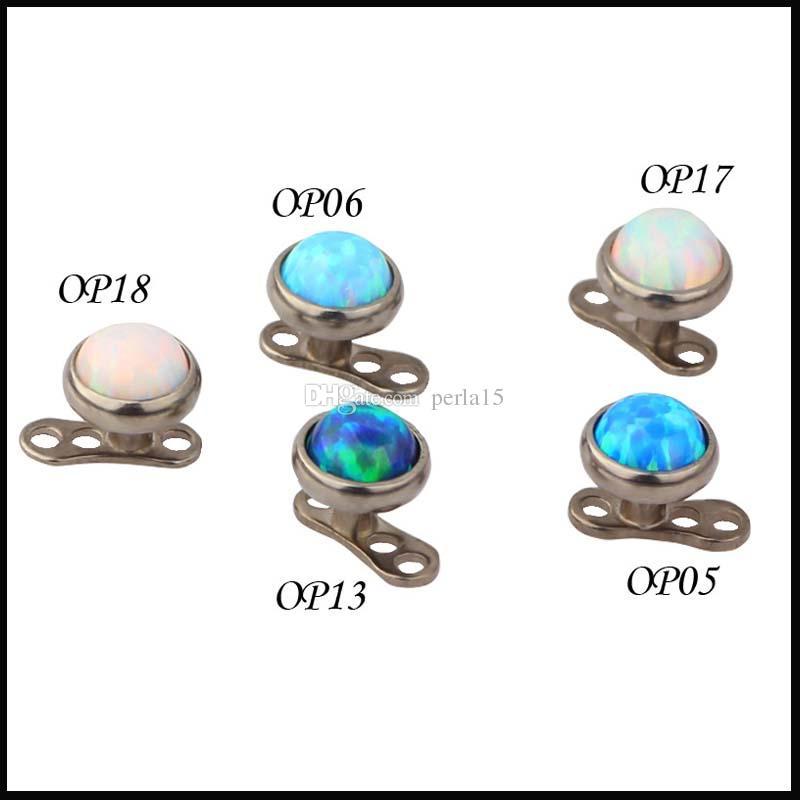 % 100 Titanyum G23 Piercing Opal Taş Üst dermal Çapa delici cisim takı ekleri-jewelley Mikro Cilt Dalgıç Dermal