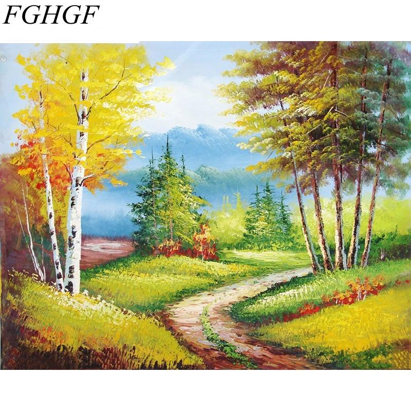 FGHGF Diy Digital Painting By Numbers Countryside Landscape Home Wall Art Decor Handpainted Oil Painting On Canvas Artwork