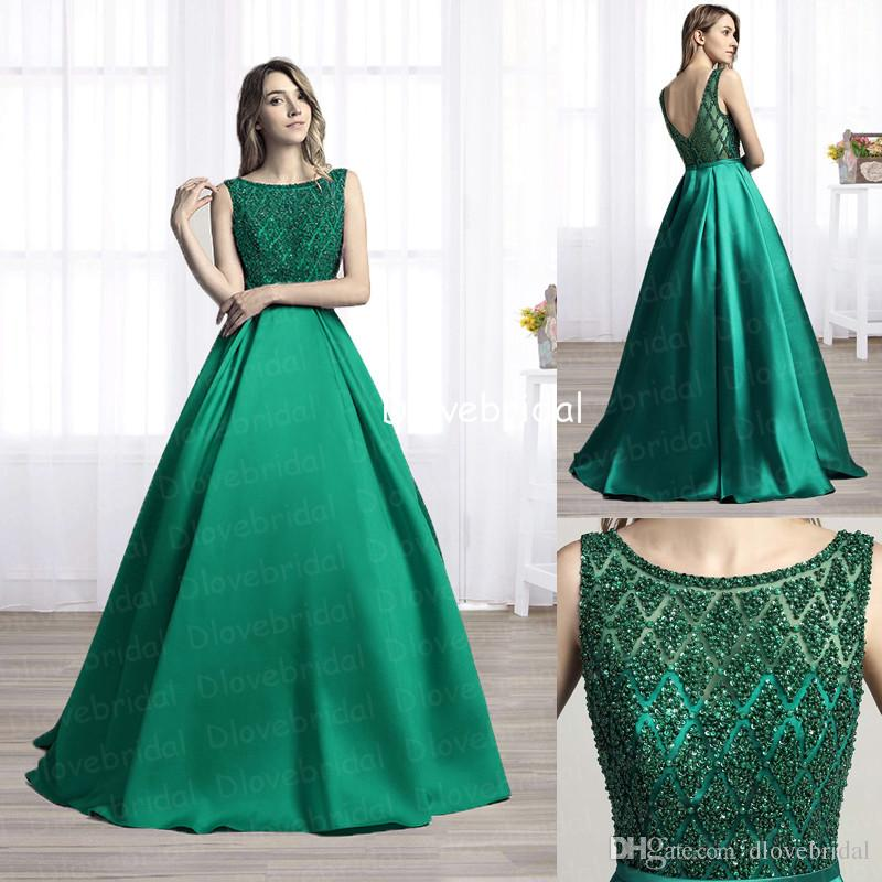 Delicate Crystals Illusion Bateau Neck Evening Dresses Sexy Backless A Line Floor-Length Prom Gown Romantic Women Gala Holiday Party Dresses