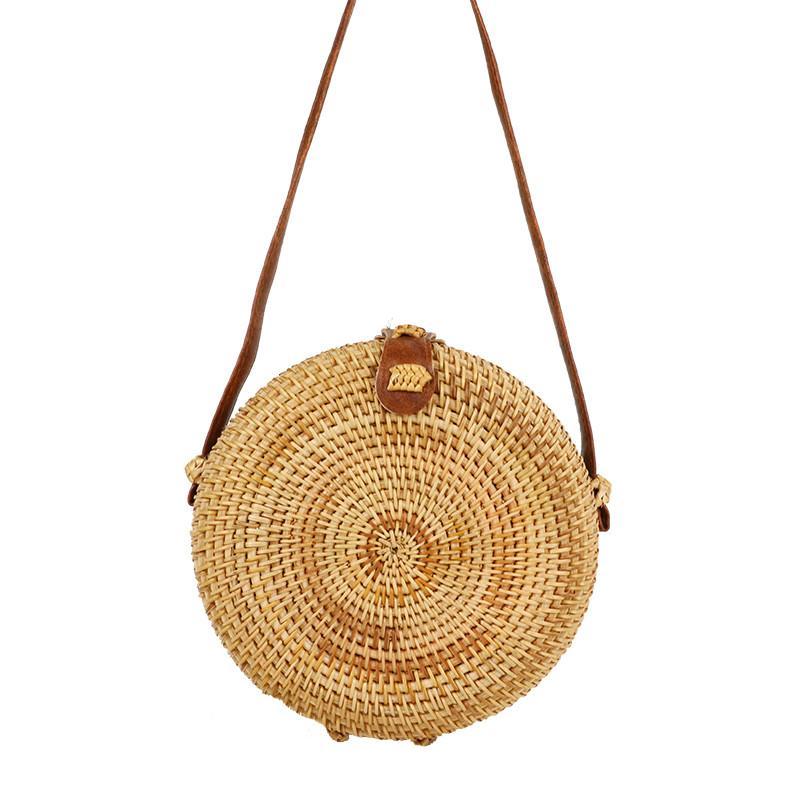 fc8933304a7d FEMALEE Вьетнам чистая рука Бали ротанга сумка старинные Crossbody пляж  лето круглый Соломенная сумка путешествия мини сумки тканые круг сумки