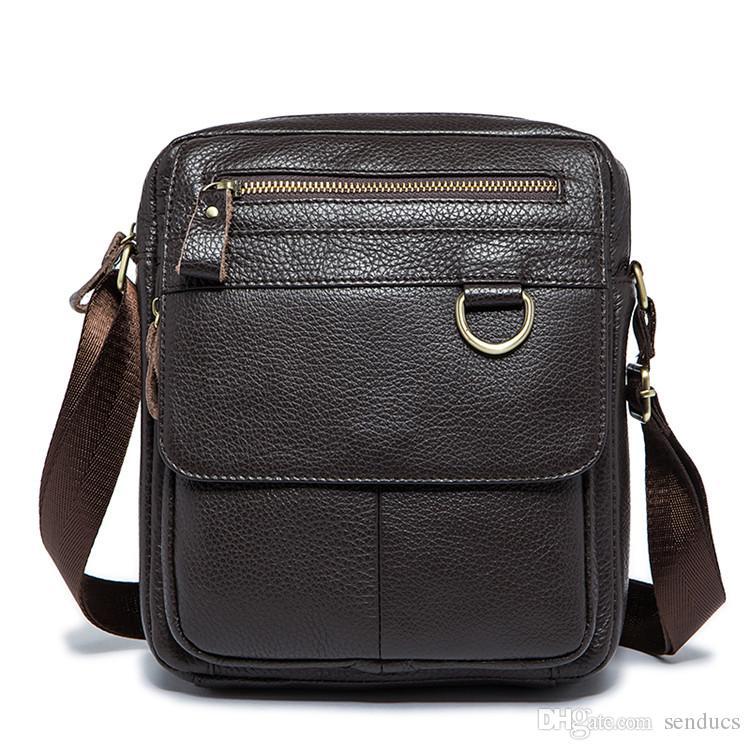 02c7f51106cd Fashion Men Shoulder Bags Genuine Leather Crossbody Bags Multifunction  Messenger Bag Men Leather IPad Holder Men S Leather Bag Strap Designer  Handbags ...