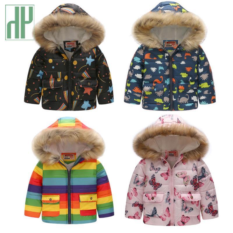 7eef69547509 Kids Winter Jacket With Fur Hooded Dinosaur Printed Rainbow Children ...