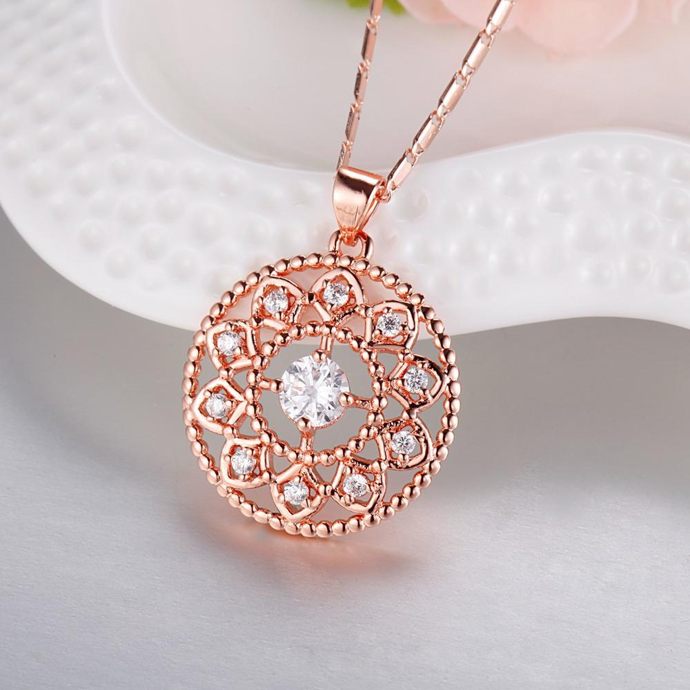 2018 Fashion Austrian Crystal hollow Flower Round jewelry sets Necklace Earring Set Gold And Silver