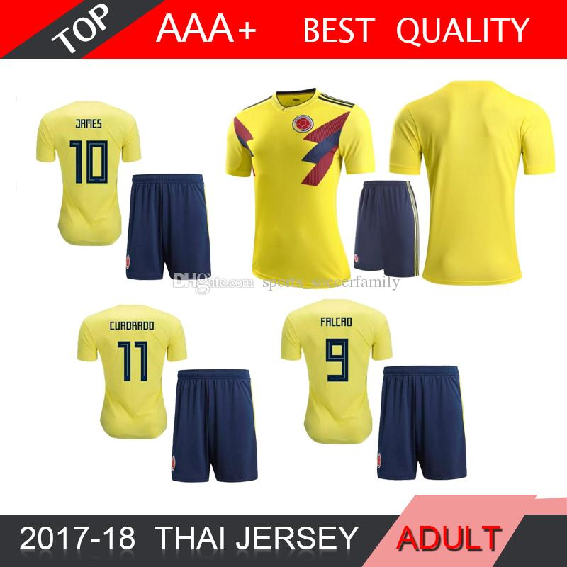 01d8327e52f 2019 Top Thai 2018 World Cup Colombia Home Yellow Soccer Jersey 17 18 Away  Blue FALCAO JAMES CUADRADO TEO BACCA Football Shirts From  Sports soccerfamily