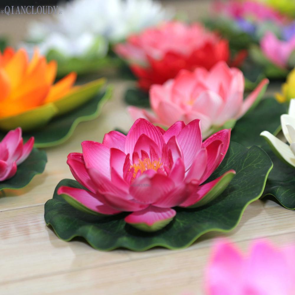 2018 Fake Lotus Artificial Fake Lotus Leaves Flowers Water Pond
