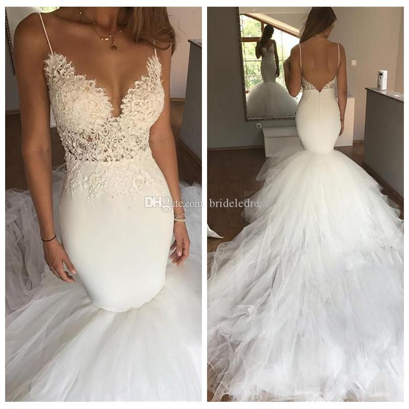 Lace Mermaid Wedding Gown With Tulle Skirt: Charming Spaghetti Straps Mermaid Wedding Dress Lace Top