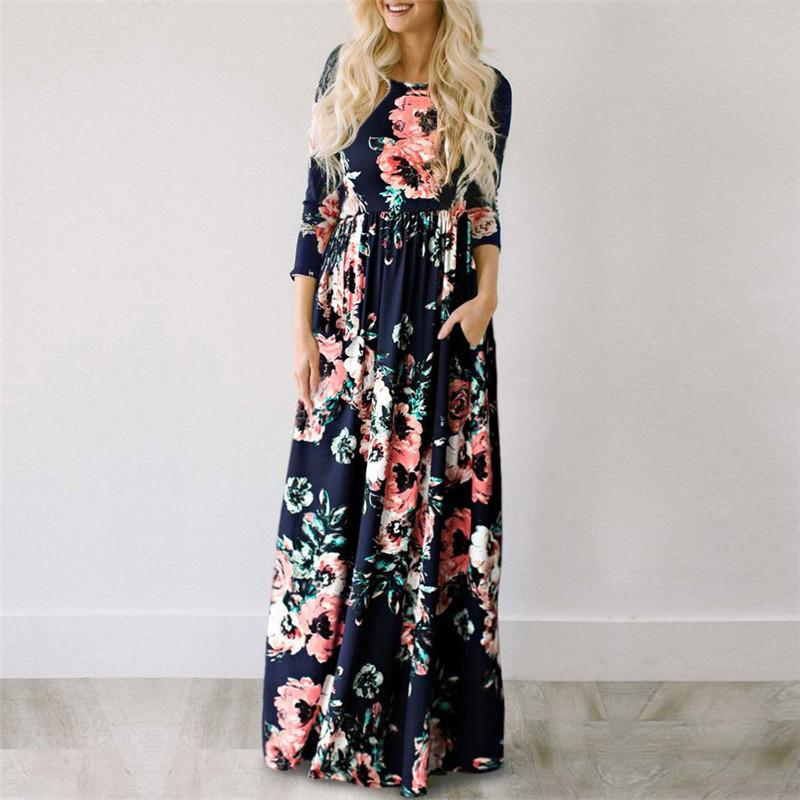 b2d40dd228 Maxi Dress 2018 Summer Floral Print Long Dresses Boho Beach Dress Tunic  Evening Party Dress Sundress Vestidos Largos Mujer 3XL Party Dresses  Teenagers Dress ...