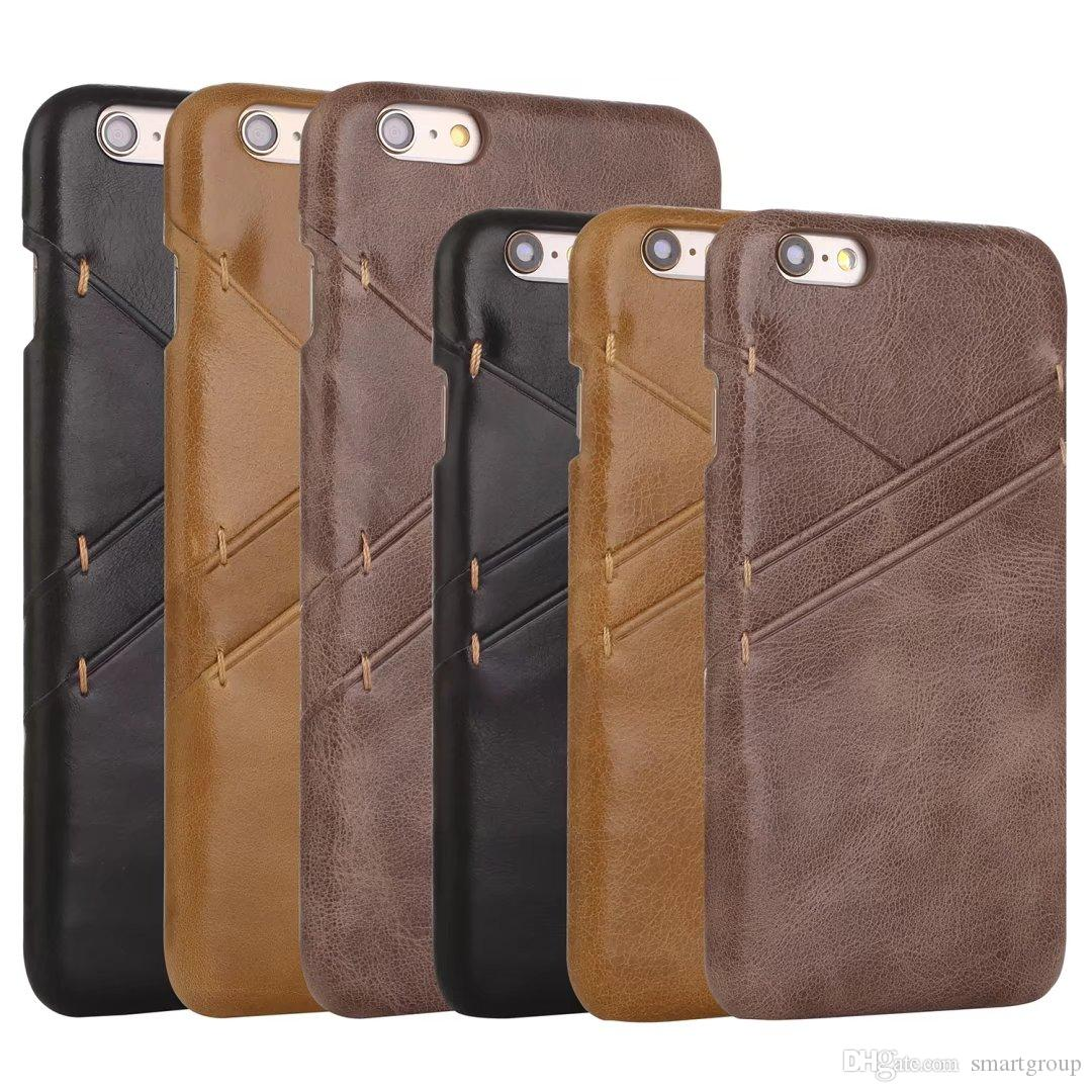 outlet store 6ec0b 22211 For Apple Iphone 6 6S Case 4.7 Inch Slot Genuine Leather Fashion Luxury  Ultra-Thin Hard Cover Case For Apple Iphone 6 6S