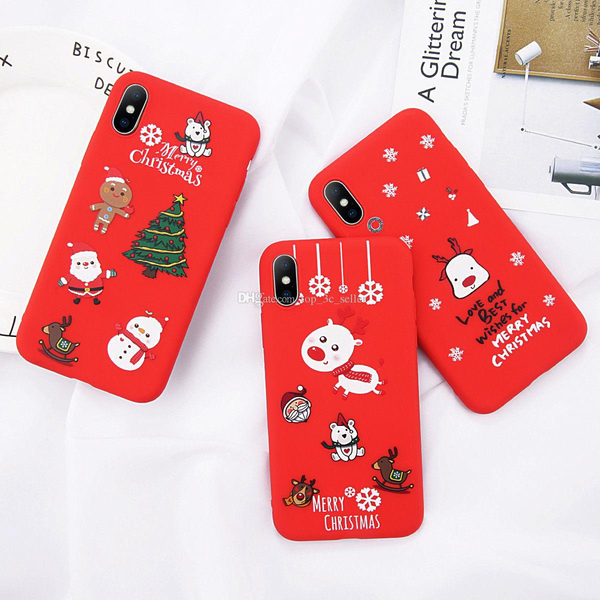 322afcb591 Christmas Elk Case Soft Silicone Slim Cover For iPhone XS MAX XR X 6 6s 7 8  Plus