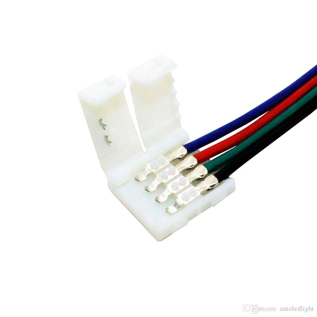 RGB LED Şerit işık konnektörler 10mm 4PIN Hiçbir lehim Kablosu PCB Kurulu Tel 4 Pin Dişi Adaptör SMD 3528 5050