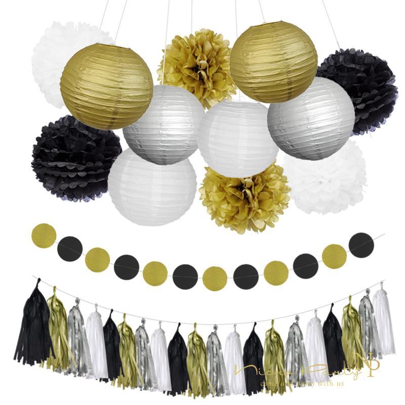 Nicro Mixed Gold Black White Party Tissue Pom Poms Paper Lantern Tassel Garland Diy Anniversary New Year Decorations Set03