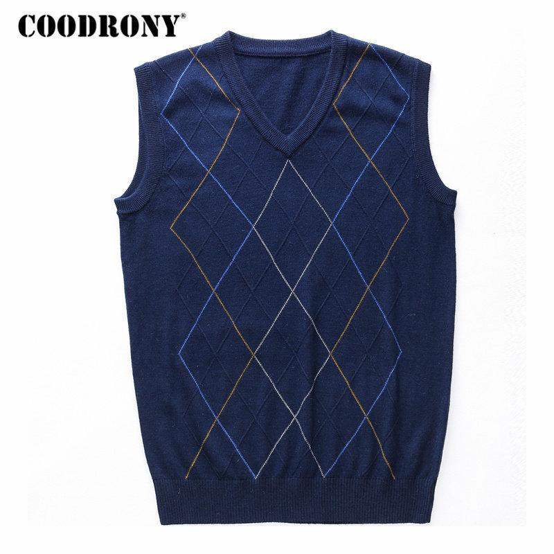1ef3c6a311ae6 2019 COODRONY Casual Argyle V Neck Sleeveless Vest Men Clothes 2018 Autumn  Winter New Arrival Knitted Cashmere Wool Sweater Vest 8174 D1892902 From  Yizhan04 ...