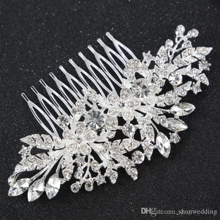 Sparking Crystal Wedding Hair Accessories Fashion Flower Hair Combs Bridesmaids Tiara Trendy Hair Clip For Women Headwear