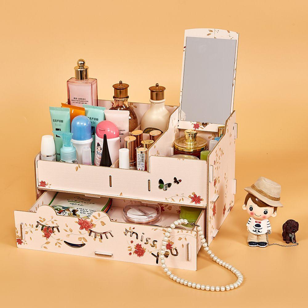 Admirable Wood Makeup Organizer Desk Organizer Case With Mirror Desktop Multi Slots Storage Holder For Jewlry Cosmetic Supplies Interior Design Ideas Skatsoteloinfo