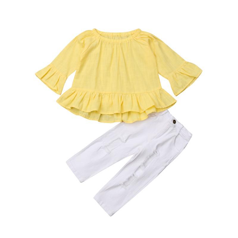 720b5e05d 2019 Toddler Kids Baby Girl Clothes Set Autumn Long Sleeve Yellow Pleated Ruffle  T Shirt Denim Pants Girls Clothing Outfits From Xunqian, $34.29 | DHgate.