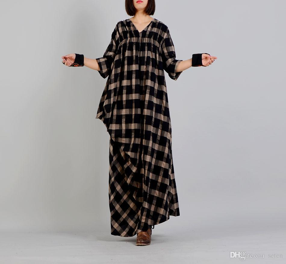 702a6f37db 2019 Women Maxi Long Dress Plaid Striped Robe 2018 Spring Vintage V Neck  Long Sleeve Plus Size Women Clothes Loose Cotton Linen Dress From Seten